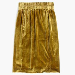 New JCREW Vintage Gold Pull On Velvet Skirt